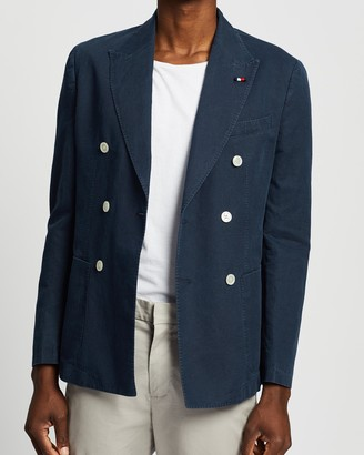 Tommy Hilfiger Washed Double-Breasted Slim Fit Suit Blazer