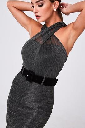 Paper Dolls Lumen Grey Lurex Crossover Neck Belted Dress
