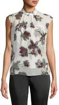 Erdem Iona High-Neck Sleeveless Wallpaper-Print Silk Voile Top