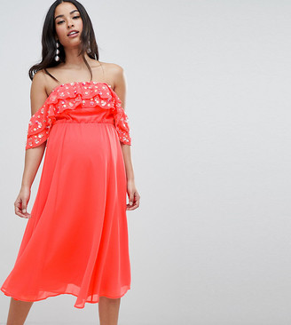 Asos DESIGN Maternity bardot midi dress with embellished frill top