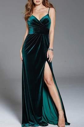 Jovani V-Neck Velvet Gown