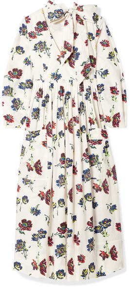 Ulla Johnson Isabeau Pleated Floral-print Cotton-poplin Midi Dress - Ivory