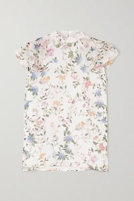 Erdem Opal Ruffled Printed Silk-voile Blouse - White