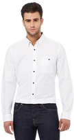Jeff Banks Big And Tall White Dobby Textured Regular Fit Shirt
