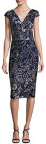 David Meister Cap-Sleeve Embroidered Sheath Dress, Blue/Multicolor