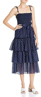 Tory Burch Silk Printed Tiered Ruffle Dress