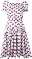 Prada lip print flared dress - women - Cotton/Spandex/Elastane - 38