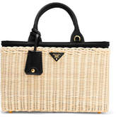 Prada Midollino Large Leather-trimmed Canvas And Wicker Tote - Beige
