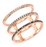 Ef Collection Black/White Diamond & 14K Rose Gold Fade Triple-Band Ring