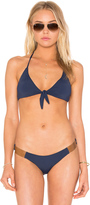 Vix Paula Hermanny Knot Leather Bikini Top Solid Indigo