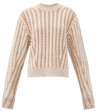 Chloé Chunky Cable-knit Side-slit Wool-blend Sweater - Beige