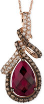 LeVian Le Vian® Raspberry Rhodolite® Garnet (3-5/8 ct. t.w.) and Diamond (5/8 ct. t.w.) Pendant Necklace in 14k Rose Gold