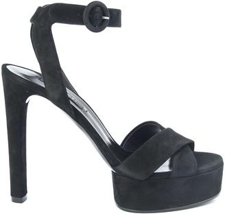Casadei Manu Platform Sandals In Black Suede