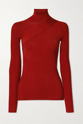 Peter Do Seatbelt Ribbed-knit Turtleneck Top - Red