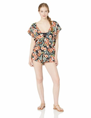 Lucky Brand Junior's Plunge Front Swimwear Cover Up Romper