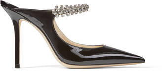 Jimmy Choo BING 100 Black Patent Leather Mules with Crystal Strap