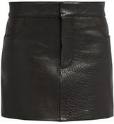 Raey Tumbled-leather mini pencil skirt