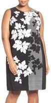 Vince Camuto Plus Size Women's Colorblock Floral Print Shift Dress