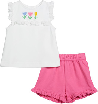 Florence Eiseman Girl's Floral Embroidered Sleeveless Ruffle Top w/ Shorts, Size 2-4T