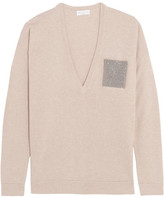 Brunello Cucinelli Beaded Wool, Cashmere And Silk-blend Sweater - Beige