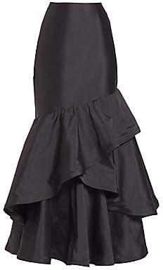 Teri Jon by Rickie Freeman Women's Long Ruffle Taffeta Skirt