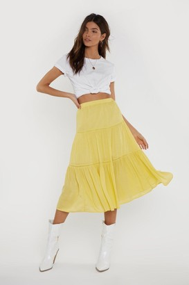 Nasty Gal Womens Tier We Go High-Waisted Midi Skirt - yellow - L