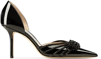 Jimmy Choo KAITENCE 85 Black Patent and Suede Point-Toe Pumps with Crystal-Embellished Bow