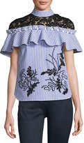 Self-Portrait Striped Frill Shirt with Contrast Floral Guipure Lace, Navy/White