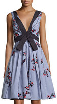 Marc Jacobs Sleeveless Embroidered Gingham Dress, Blue