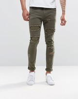 Asos Super Skinny Jeans With Rips In Khaki