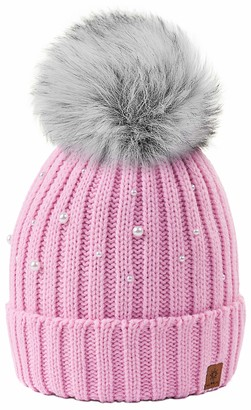 4sold Ball Colour Beige Womens Girls Winter Hat Wool Knitted Beanie with Large Pom Pom Cap Ski Snowboard Bobble Large Pom Pom Cap Ski Snowboard Bobble