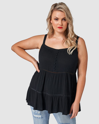 Sunday In The City - Women's Black Sleeveless Tops - Konklusions Crinkle Cami - Size One Size, 12 at The Iconic