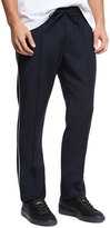 Vince Wool Track Pants with Piping, Navy