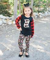Beary Basics Black Plaid 'Ho Ho Ho' Tee & Santa Leggings - Toddler & Girls