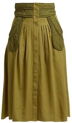 Sea O'keefe Quilted Patch Twill Canvas Midi Skirt - Khaki