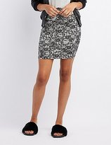 Charlotte Russe Lace Print Bodycon Mini Skirt
