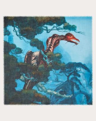 Valentino Garavani Uomo Dragon Garden Shawl In Silk Cashmere Man Multicolored Cashmere 70%, Silk 30% OneSize