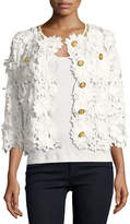 Michael Simon Floral Crochet Jacket, Petite