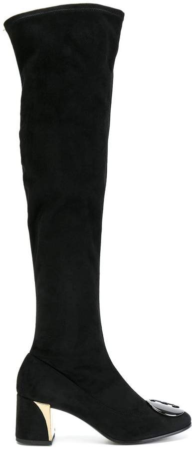 Fabi plaque detail knee-high boots
