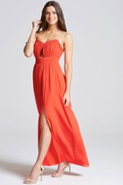 Little Mistress Tomato Red Cut Out Bandeau Maxi Dress