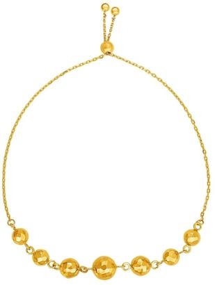 Overstock Adjustable Bracelet with Textured Spheres in 14k Yellow Gold