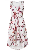 Quiz Cream and Pink Blossom Print Dip Hem Dress