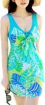 Sun Women's Vintage Swimdress Flower Printed Swimsuits Plus Size one-piece swimwear (XXXL, )