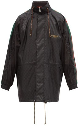Gucci Stowaway-hood Gg-jacquard Shell Jacket - Black