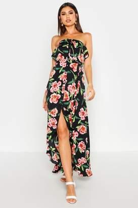 boohoo Bandeau Floral Print Frill Hem Maxi Dress