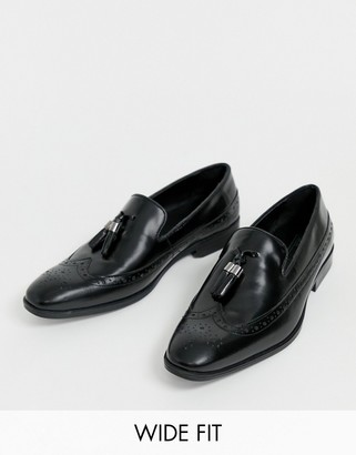 Asos Design DESIGN Wide Fit brogue loafers in black leather