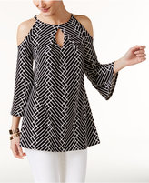 Alfani Printed Cold-Shoulder Tunic, Only at Macy's
