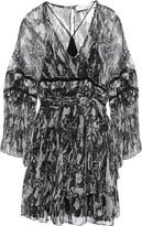 IRO Belted Printed Georgette Mini Dress