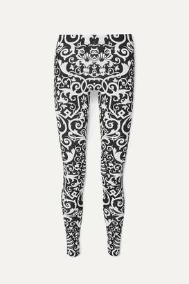 Versace Printed Stretch-jersey Leggings - Black