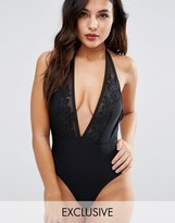 Wolfwhistle Wolf & Whistle Deep Plunge Lace Panel Swimsuit B/C - E/F Cup